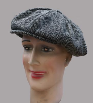 Casquette Gatsby Hanna Hats of Donegal - Tweed chevron gris et noir