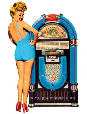 Décalcomanie de Betty Grable avec un juke box