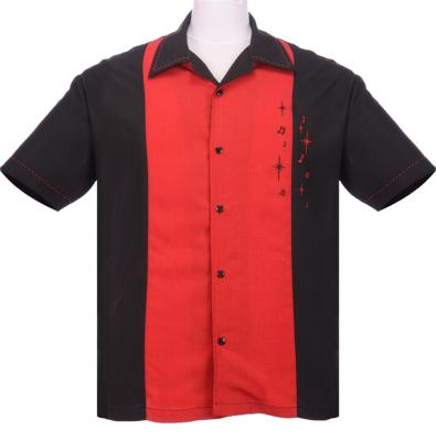 "Chemise Steady Clothing bicolore noir et rouge ""Music"""
