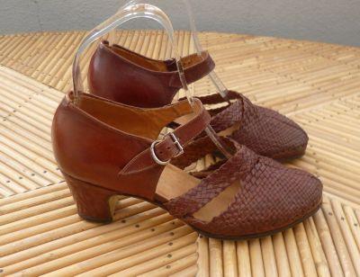 Chaussures vintage des ann es 40 en cuir tress - Chaussures annees 50 femme ...