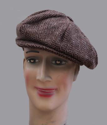 Casquette Gatsby Hanna Hats of Donegal - Tweed chevron marron