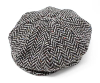 Casquette Gatsby Hanna Hats of Donegal - Tweed chevron gris et marron
