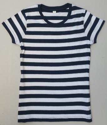T-shirt rayé bleu foncé et blanc, marinière, pour femme 2927aeaae26e