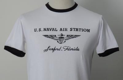 T-shirt US Naval Air Station Sanford Florida - col noir